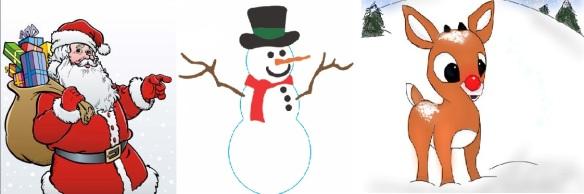 Santa, Frosty, Rudolph