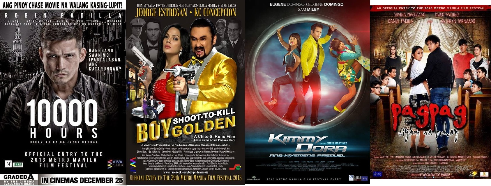 Movie posters ng 10,000 Hours, Boy Golden, Kimmy Dora, Pagpag: Siyam